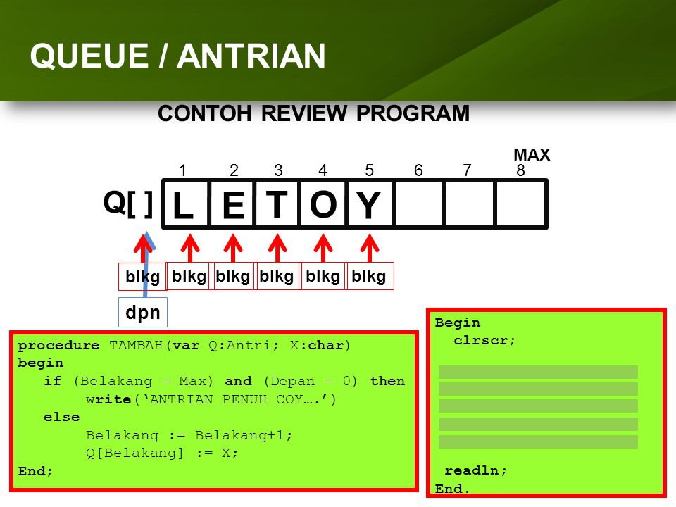 ARRAY (LARIK) L E T O Y QUEUE / ANTRIAN Q[ ] CONTOH REVIEW PROGRAM dpn